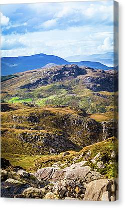 Canvas Print featuring the photograph Undulating Green, Purple And Yellow Rocky Landscape In  Ireland by Semmick Photo