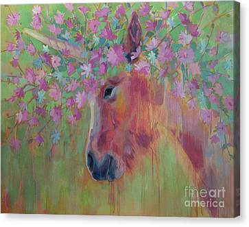 Unicorns Canvas Print - Uni Corn Flower II by Kimberly Santini