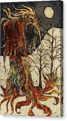 Unicorn And Phoenix Canvas Print by Carol  Law Conklin
