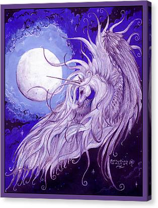 Unicorn And The Moon Canvas Print
