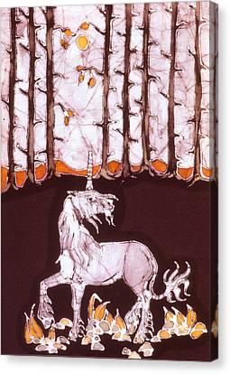 Unicorn Below Trees In Autumn Canvas Print by Carol  Law Conklin