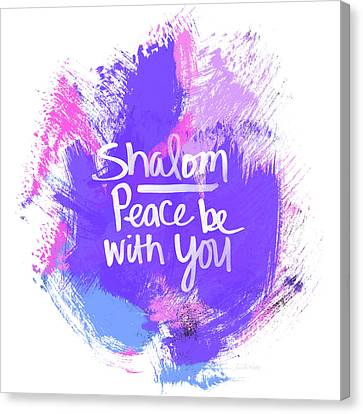 Jewish Canvas Print - Unicorn Colors Shalom- Art By Linda Woods by Linda Woods