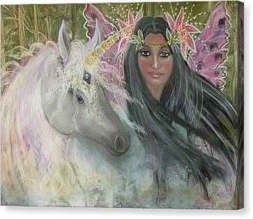 Unicorn Faery Mother Canvas Print by Coral Lee