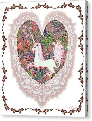 Unicorn In A Pink Heart Canvas Print by Lise Winne