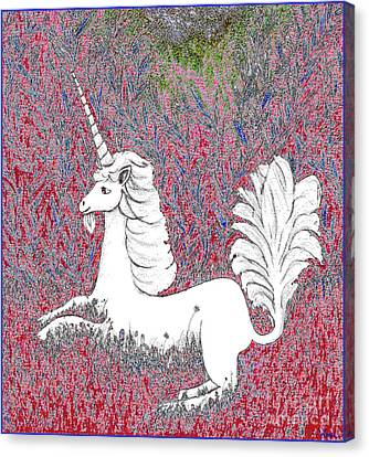 Unicorn In A Red Tapestry Canvas Print