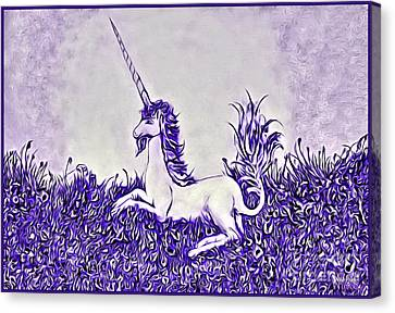 Unicorn In Purple Canvas Print by Lise Winne