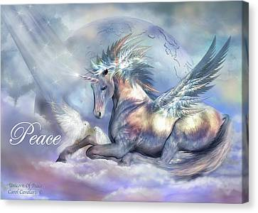 Extinct And Mythical Canvas Print - Unicorn Of Peace Card by Carol Cavalaris