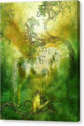 Extinct And Mythical Canvas Print - Unicorn Of The Forest  by Carol Cavalaris