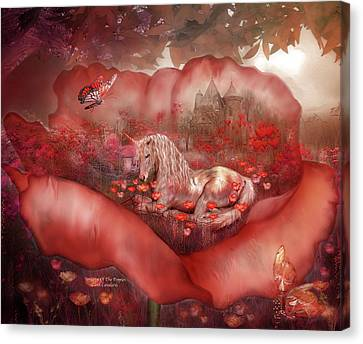 Extinct And Mythical Canvas Print - Unicorn Of The Poppies by Carol Cavalaris