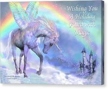 Unicorn Of The Rainbow Card Canvas Print