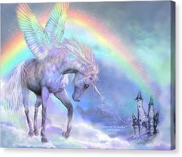 Iridescent Canvas Print - Unicorn Of The Rainbow by Carol Cavalaris