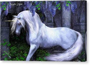 Stallion Canvas Print - Unicorn  - Pencil Style -  - Da by Leonardo Digenio