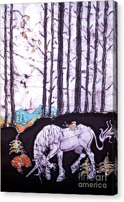 Unicorn Rests In The Forest With Fox And Bird Canvas Print by Carol Law Conklin
