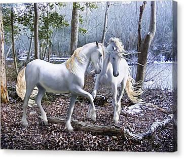 Unicorn Reunion Canvas Print by Barbara Hymer