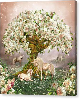 Canvas Print featuring the mixed media Unicorn Rose Tree by Carol Cavalaris