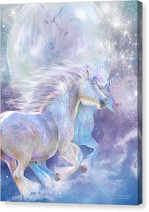 Extinct And Mythical Canvas Print - Unicorn Soulmates by Carol Cavalaris