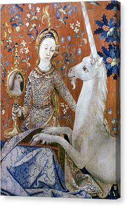 Unicorn Tapestry, 15th C Canvas Print by Granger