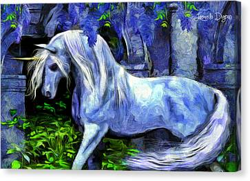 Unicorn  - Van Gogh Style -  - Da Canvas Print by Leonardo Digenio