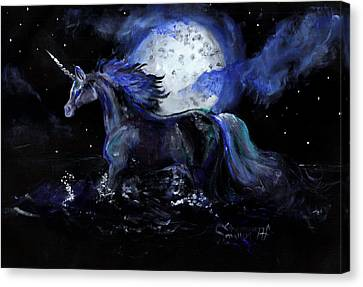 Unicorn With Moon Canvas Print