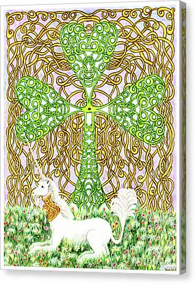 Unicorn With Shamrock Canvas Print