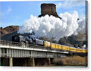 Union Pacific Steam Engine 844 And Castle Rock Canvas Print by Eric Nielsen