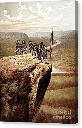 Union Soldiers On Lookout Mountain, Tennessee Canvas Print by James Fuller Queen