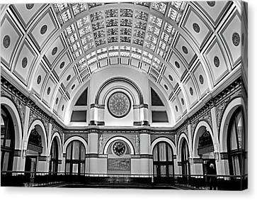 Nashville Tennessee Canvas Print - Union Station Lobby Bw by Kristin Elmquist