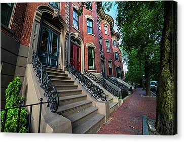 Union Street South End Union Park Browstones Boston Ma Canvas Print by Toby McGuire