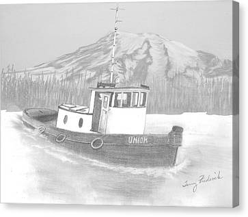 Canvas Print featuring the drawing Tugboat Union by Terry Frederick