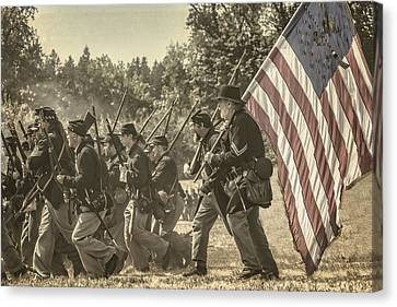 War Torn Flag Canvas Print - Union Troop by Wes and Dotty Weber