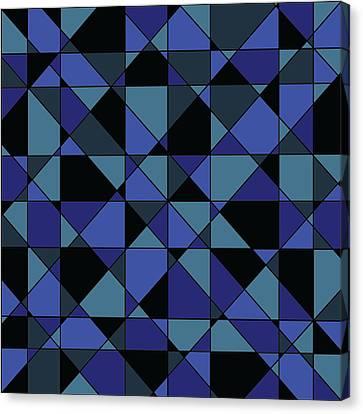 Canvas Print featuring the digital art Unique Bold Hip Blue Cyan Grey Black Geometric Pattern by Shelley Neff