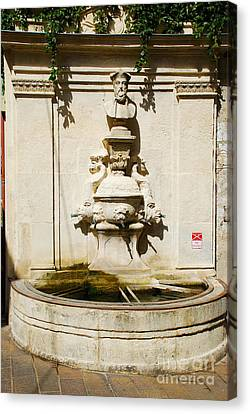 Nostradamus Fountain In Saint Remy De Provence France Canvas Print