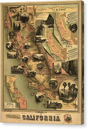 Unique Map Of California 1888 Canvas Print by Mountain Dreams