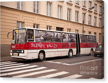 Unique Solidarnosc Bus On Street Canvas Print