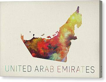 Middle East Canvas Print - United Arab Emirates Watercolor Map by Design Turnpike