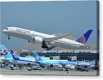 Canvas Print featuring the photograph United Boeing 787-9 N27965 Los Angeles International Airport May 3 2016 by Brian Lockett