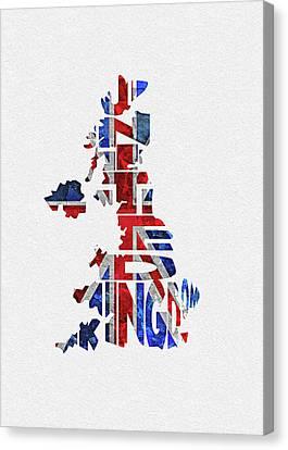 Dirty Canvas Print - United Kingdom Typographic Kingdom by Inspirowl Design