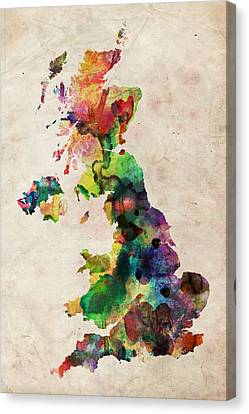 United Kingdom Watercolor Map Canvas Print by Michael Tompsett