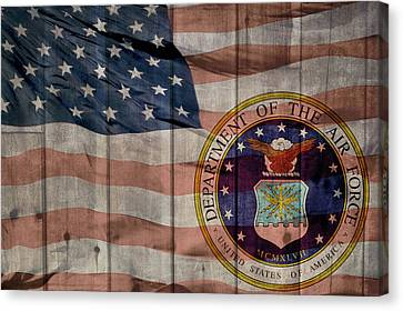 United States Air Force Logo Barn Door Canvas Print by Dan Sproul
