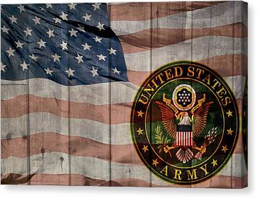 United States Army Logo Barn Door Canvas Print by Dan Sproul