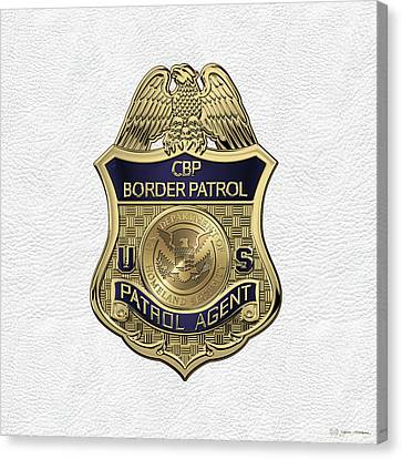 United States Border Patrol -  U S B P  Patrol Agent Badge Over White Leather Canvas Print by Serge Averbukh