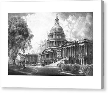 Us Capital Canvas Print - United States Capitol Building by War Is Hell Store