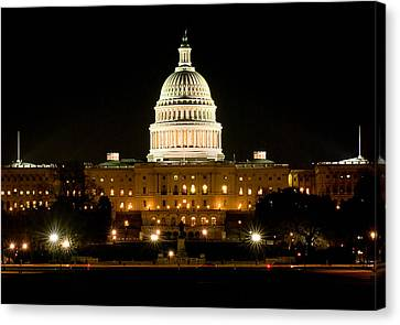 United States Capitol Grounds At Night Canvas Print