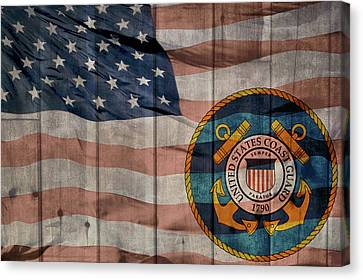 United States Coast Guard Logo Barn Door Canvas Print by Dan Sproul