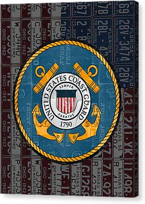 United States Coast Guard Logo Recycled Vintage License Plate Art Canvas Print by Design Turnpike