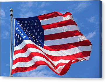 Canvas Print featuring the photograph United States Flag by Elizabeth Budd