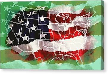 United States Flag Map Canvas Print by Daniel Hagerman