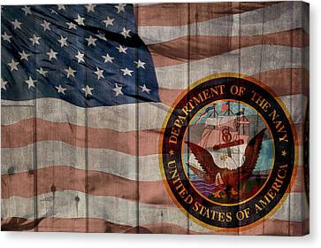 United States Navy Logo Barn Door Canvas Print by Dan Sproul