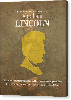 United States Of America President Abraham Lincoln Facts Portrait And Quote Poster Series Number 16 Canvas Print by Design Turnpike