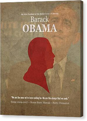 United States Of America President Barack Obama Facts Portrait And Quote Poster Series Number 44 Canvas Print by Design Turnpike